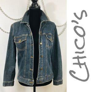 Chico's Button Front Denim Jacket